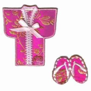 Asian Pink Kimono with Bow and Clogs Patch Applique
