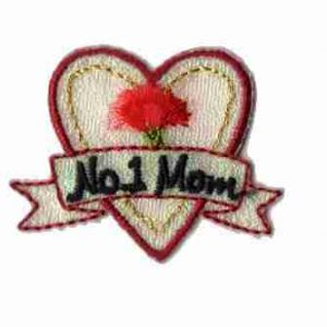 "Iridescent ""No.1 Mom"" Iron On Heart Applique"