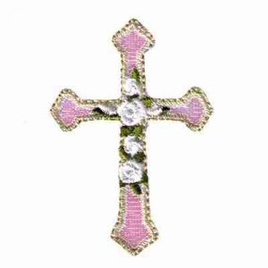 Iridescent Cross w/Roses Iron On Religious Patch Applique