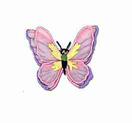 Butterflies - Pink & Lavendar Chiffon Butterfly Iron-on Applique
