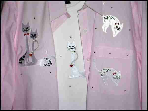 Sample 5 - White Satin Cat Shirt Set - NOT FOR SALE