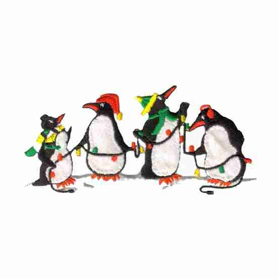 Holiday Penguins Iron On Applique