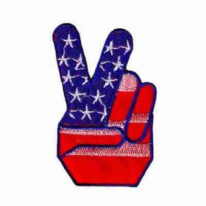 Two Finger American Flag Peace Sign Iron On Patch - 5 Left!