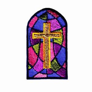 Gold Cross in Stained Glass Iron On Church Patch Applique