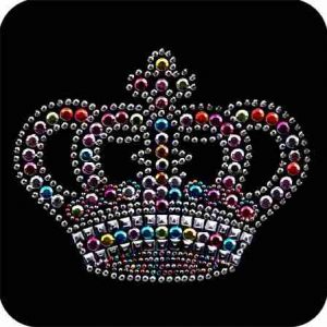 Crowns - Large Colorful Royal Crown Iron On Rhinestud Applique