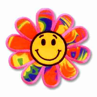 Happy Face Rainbow Daisy Embroidered Flower Patch