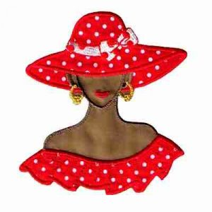 Tan Red Hat Lady in Polka Dots -Large Iron On Applique