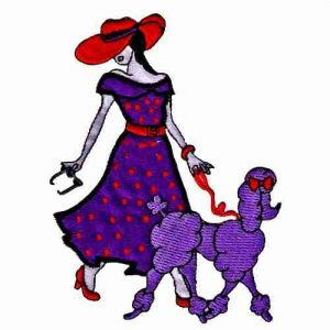 Red Hat Lady Applique Walking Dog Iron On Patch