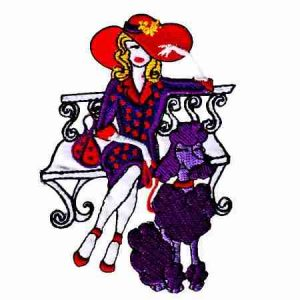 Red Hat Lady Sitting on Bench Iron On Applique