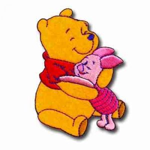 Piglet & Pooh Hugging Iron On Disney Patch Applique