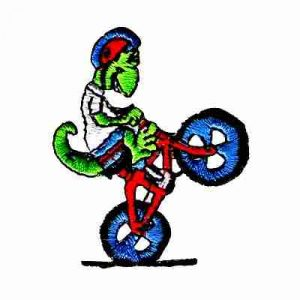 Biking Lizard Popping Wheelie Iron On Patch Applique