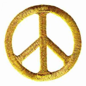 Metallic Gold Iron On Peace Sign Patch Applique
