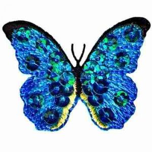 Butterflies - Blue Sequined Butterfly Iron On Insect Patch Appli