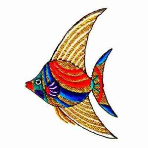 Fish - Colorful Angelfish with Gold Iron On Sealife Applique