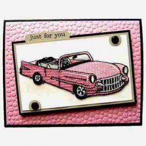 Sample 14 - Pink Cadillac Greeting Card - NOT FOR SALE