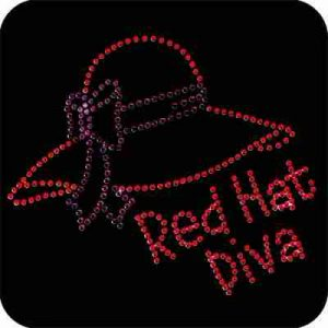 Red Hat Diva Iron On Rhinestone Applique