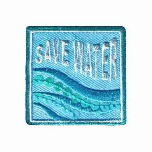 """Save Water"" Iron On Ecology Patch Applique"