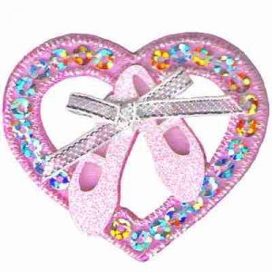 Dance - Ballet Toe Shoes in Sequined Heart Iron On Applique