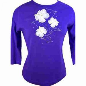 Sample 18 - White Hibiscus on Purple Top - NOT FOR SALE