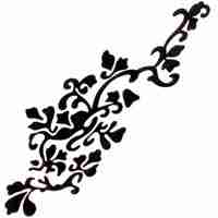 Silhouette Flowers on Vine Iron On Applique