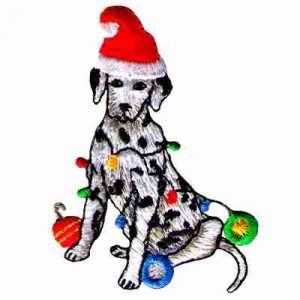 Christmas Dalmatian Iron on Holiday Patch Applique