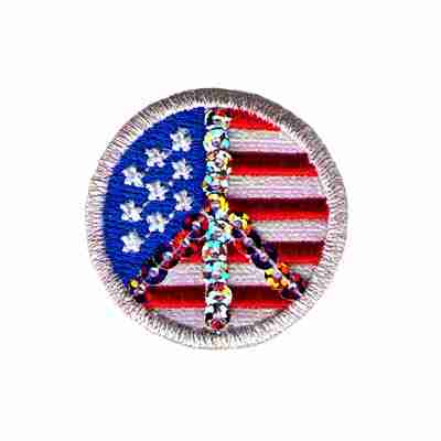 """1"""" Sequin Peace Sign Over US Flag Iron on Patch Applique"""