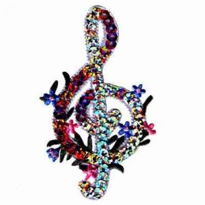 Silver Sequin Treble Clef Iron On Music Patch Applique