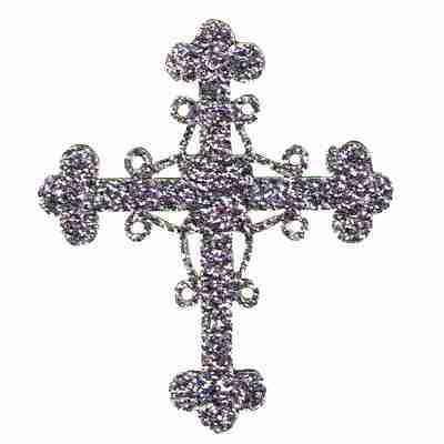 Glittering Silver Cross Iron On Religious Patch Applique