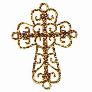 Gold Glitter Cross Iron On Religious Patch Applique