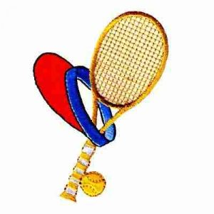 Tennis - Racquet, Ball and Visor Iron on Sports Patch