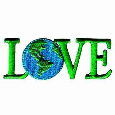 """Blue-Green """"LOVE"""" Earth Iron On Patch Applique"""