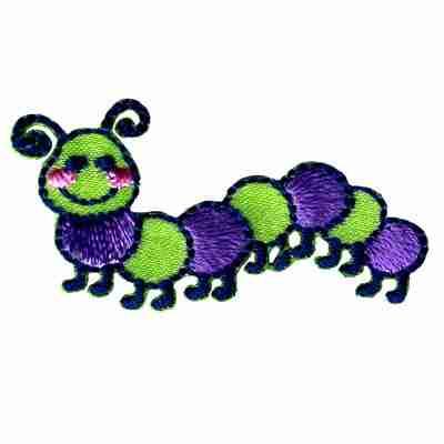 Cute Green & Purple Caterpillar Iron on Children's Patch
