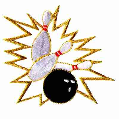 Bowling - Ball Striking Pins Iron On Patch Applique