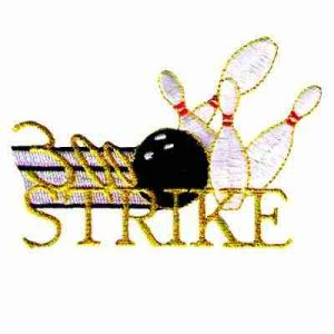 "Bowling - ""300 Strike"" Bowling Pins and Ball Iron On Patch Appli"