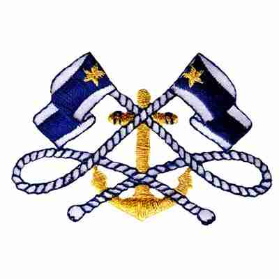 Two Navy Blue Nautical Flags with Gold Anchor