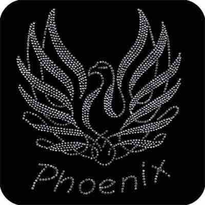 Birds - Phoenix - Rhinestone Mythical Phoenix Bird Iron on Appli