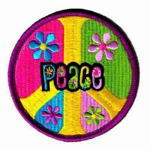 "Pastel ""Peace"" in Peace Symbol Iron On Patch Applique"