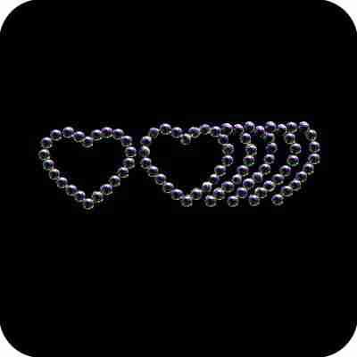 Hearts - Small Trailing Hearts Iron On Rhinestone Applique