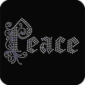 """Peace"" in Metallic Nailheads Iron On Rhinestone Applique"