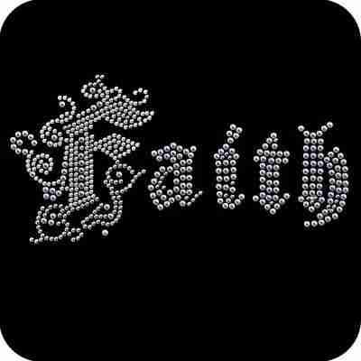 """""""Faith"""" Iron On Metallic Nailhead Applique"""