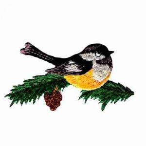 Birds - Cute Little Bird on Pine Branch Iron On Applique