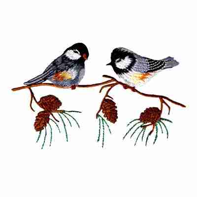 Birds - Two Small Birds on Branch Iron On Bird Patch Applique