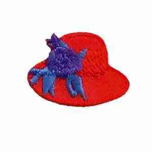 Tiny Red Hat Lady Hat with Flowers Iron On Applique