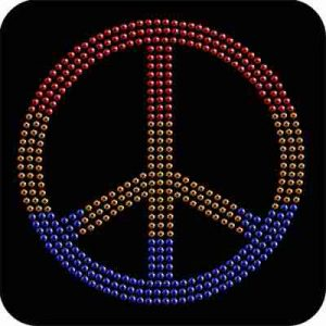 "Peace - Large 7"" Rhinestud Peace Sign Applique"