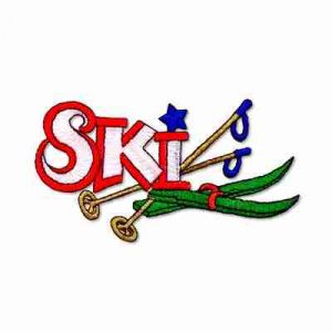 "Skiing - ""Ski"" with Equipment Iron On Sports Patch Applique"