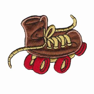 Rollerskate Patches - Wacky Roller Skate - Brown - Iron On Childrens patch