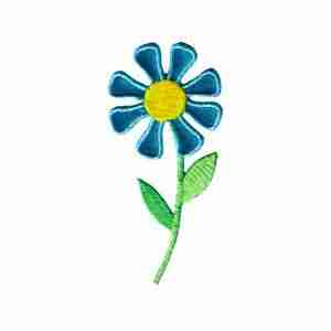 Daisy in bright BLUE Iron On Floral Applique - 6 left!