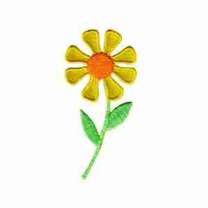 Daisy in bright YELLOW Iron On Floral Applique