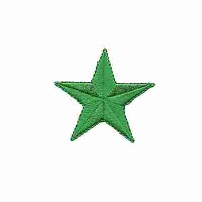 2 Inch iron on embroidered green Star Patches