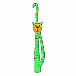 Cats - Long Slender GREEN Cool Cat Iron On Patch Applique
